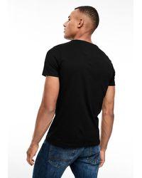 S.oliver Slim: Jerseyshirt mit Label-Print in Black für Herren