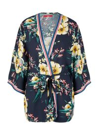 S.oliver Blue Leichter Kimono mit floralem Print