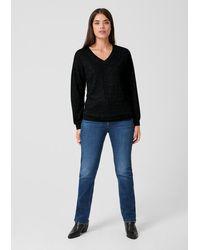 Triangle Black V-Neck-Pullover mit Glitzereffekt