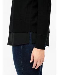 Triangle Black Feinstrickpullover mit Blusen-Detail
