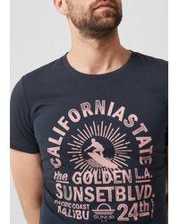 S.oliver Slim: T-Shirt mit Surfer-Print in Blue für Herren