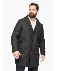 S.oliver Wattierter Wollmix-Mantel in Gray für Herren