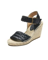 Soludos   Black Woven Leather Open Toe Wedge Sandal   Lyst