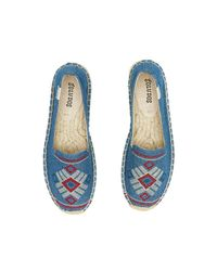 Soludos - Blue Yucatan Embroidered Platform Smoking Slipper - Lyst