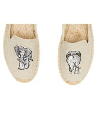 Soludos Natural Elephant Embroidered Smoking Slipper