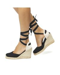 Soludos Black Linen Espadrille Tall Wedge Sandal