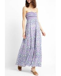 South Moon Under Blue Strapless Smocked Stamp Print Maxi Dress