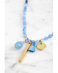 South Moon Under - Blue Gemstone Beaded Charm Necklace - Lyst