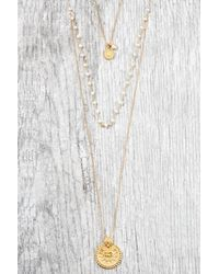 South Moon Under - White Mandala Pearl 3 Chain Necklace - Lyst
