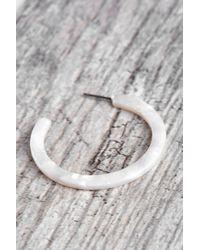 South Moon Under - White Ivory Resin Edge Hoop Earrings - Lyst