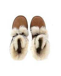 Ugg Mini Gita Brown Leather Ankle Boots With Pompon Women's Snow Boots In Brown