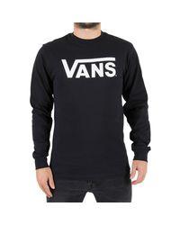 Vans - Men's Classic Longsleeved Logo T-shirt, Black Men's Sweater In Black for Men - Lyst
