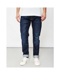 Edwin Blue Ed55 Red Listed Selvedge Relaxed Tapered 14oz Washed Jeans for men