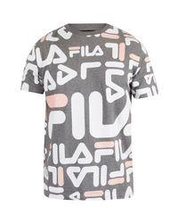 Fila Vintage Gray Men's Logan All Over Print T-shirt, Grey Men's T Shirt In Grey for men