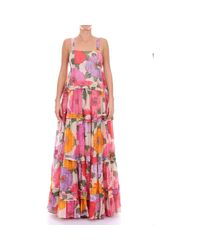 TS825C Robes longues Femme fantaisie femmes Robe en Multicolor Twin Set