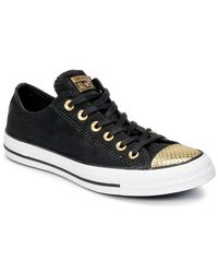 Converse | Chuck Taylor All Star Metallic Toecap Ox Women's Shoes (trainers) In Black | Lyst
