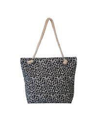Grand Sac de plage léopard Sac bandoulière Chapeau-Tendance en coloris Black