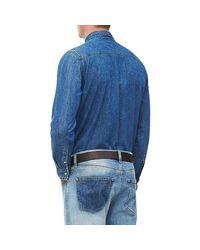 Chemise manches longues MODERN WESTERN Bleu denim hommes Chemise en bleu Calvin Klein pour homme en coloris Blue
