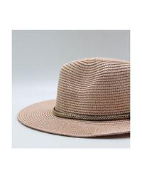 Chapeau fedora effet de paille F Rose Chapeau Kebello en coloris Pink