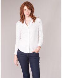 Gant Overhemd Polkadot Stretch Broadcloth in het White