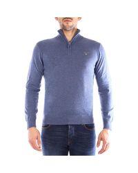 HALF ZIP SUPERFINE Pulls bleu Pull Gant pour homme en coloris Blue