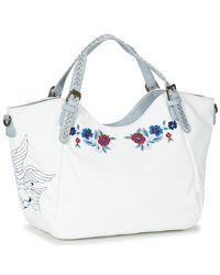 Desigual Denim Flowers Rotterdam Women's Shoulder Bag In White