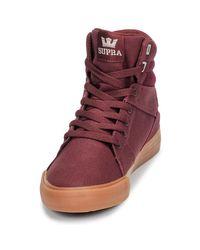 Supra Hoge Sneakers Aluminium in het Red
