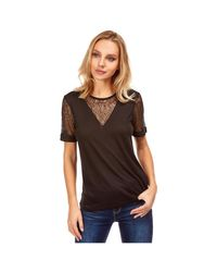Tee Shirt col rond et empiècements dentelle T-shirt Best Mountain en coloris Black