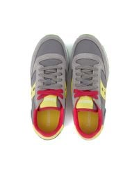 Saucony Gray Sneaker Jazz In Light Grey And Yellow Suede And Nylon Women's Shoes (trainers) In Grey