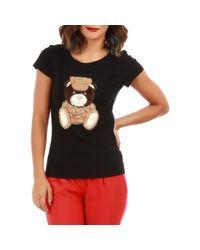 T-shirt noir avec ours La Modeuse en coloris Black