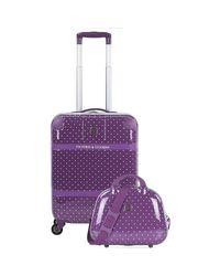 Victorio & Lucchino Purple Victorio Lucchino Lunares Cabin Bag With Necessary Hard Suitcase