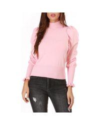 Pull rose à manches gigot Pull La Modeuse en coloris Pink