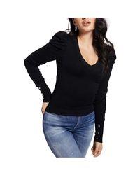 Pull Slim Encolure En V Carole Pull Guess en coloris Black