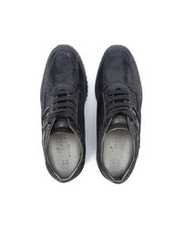 Hogan Interactive Sneaker In Black Leather Python Effect Men's Shoes (trainers) In Black for men