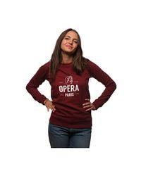L'affaire De Rufus Organic Cotton Round Neck Sweatshirt Opera Femme Burgundy / Whi Women's Sweatshirt In Red