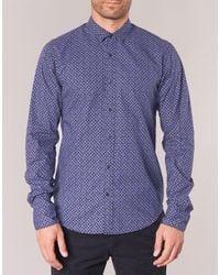 Scotch & Soda Sontein Men's Long Sleeved Shirt In Blue for men