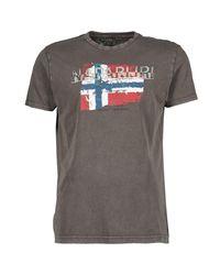 Napapijri | Gray Slood Crew Men's T Shirt In Grey for Men | Lyst
