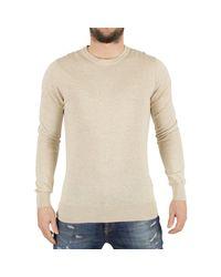 J.Lindeberg - Natural Men's Mikael Logo Knit, Beige Men's Sweater In Beige for Men - Lyst