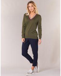 Tommy Hilfiger - Adana Tipping V-nk Swt Women's Sweater In Green - Lyst