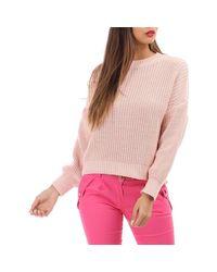 Pull rose clair à col rond Pull La Modeuse en coloris Pink