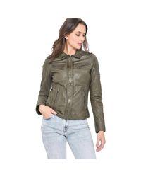 Blouson en cuir femmes Veste en Marron Oakwood en coloris Green