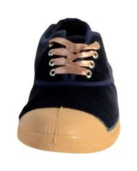 Bensimon Shoes Lace Up Woman Velvet 516 Navy Women's Shoes (trainers) In Blue