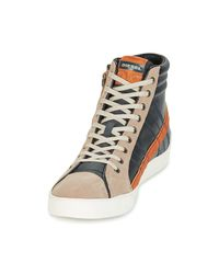 DIESEL Gray D-string Plus Men's Shoes (high-top Trainers) In Grey for men