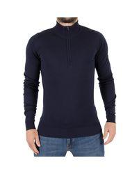 John Smedley Men's Barrow Longsleeved Zip Knit, Blue Men's Sweater In Blue for men