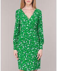 Lauren by Ralph Lauren Korte Jurk Floral Print-long Sleeve-jersey Day Dress in het Green