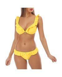 Ensemble bikini jaune à volants avec bijoux Maillots de bain La Modeuse en coloris Multicolor