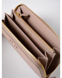 Prada - Multicolor Saffiano Shine Zip Around Wallet - Lyst