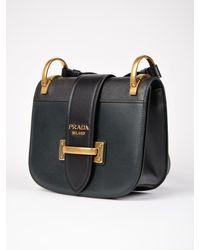 Prada Black City Calf+saffiano Bag W/flap