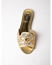 Dolce & Gabbana - Metallic Lace Flat Mule - Lyst