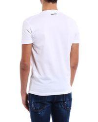 DSquared² White V Neck Basic T-shirt for men
